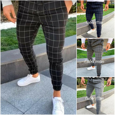 High Waist Fashion Men's Slim Fit Plaid Straight Leg Trousers