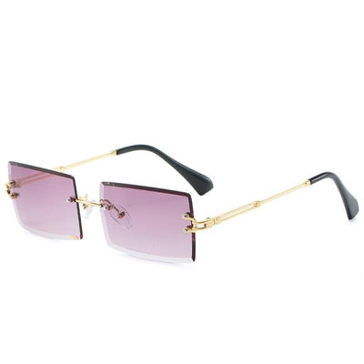 Rimless Rectangle Sunglasses Gradient UV400