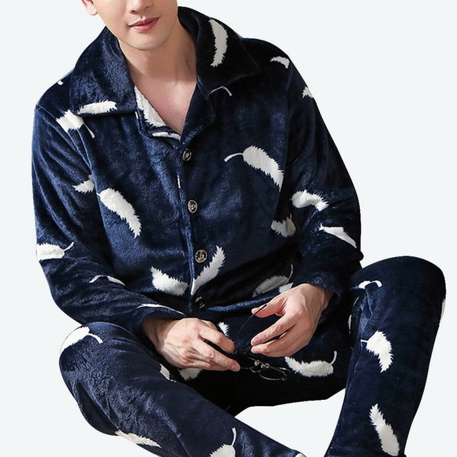 Thick Warm Blue Flannel Pajama Sets For Men Long Sleeve