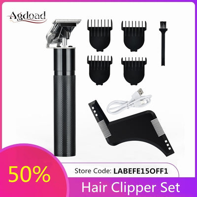 Electric Hair Clipper Rechargeable with Beard Shaving Template For Men Barber Cordless Pro Hair Shaving Trimmer Cutting Machine