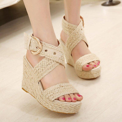 Women Summer Wedge Sandal with Ankle Strap