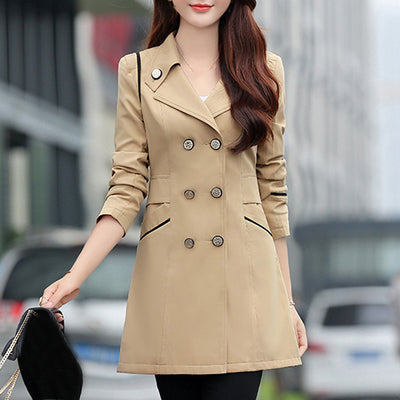 Classic Autumn Winter Women Casual Loose Trench Coat