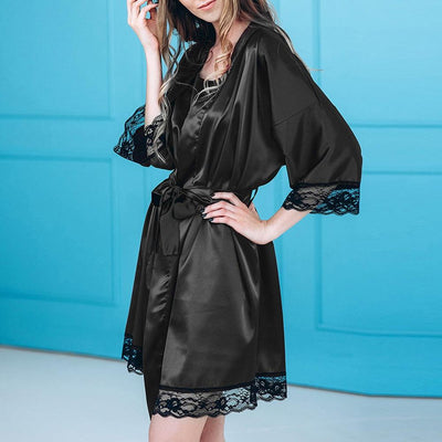 Women Nightwear Silk Satin Kimono Robe Lace