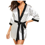 Women Sleepwear Silk Long Sleeve Satin Nightdress