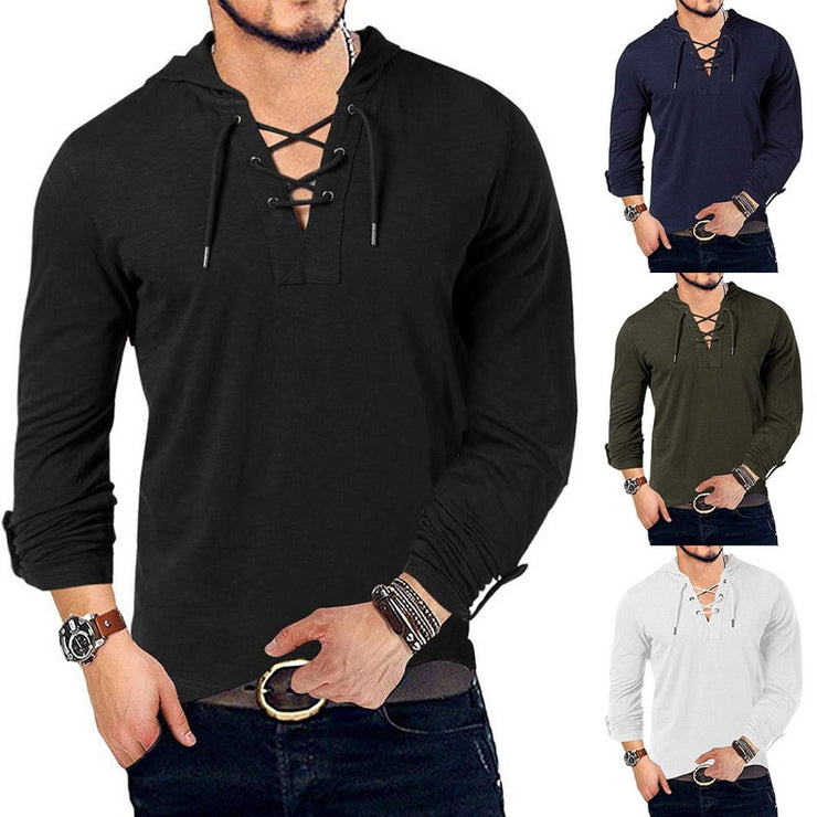 New Fashion Men's Hooded Tee Long Sleeve Cotton Henley T-Shirt Medieval Lace Up V Neck Outdoor Tee Tops Loose Casual