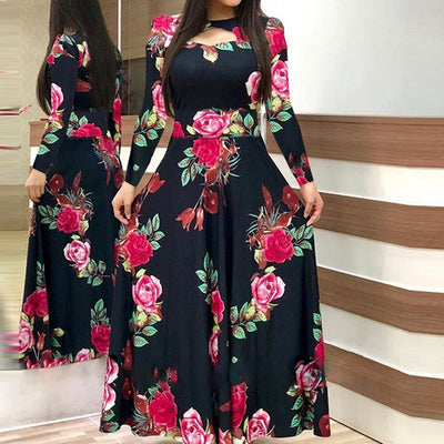 Women Casual Long Sleeve Dress Floral Print Patchwork Maxi