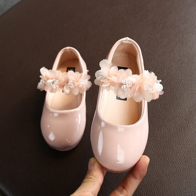 Girls Lace Crystal Princess Party Leather Shoes