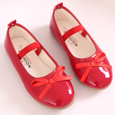 Girls Leather Bow Shoes