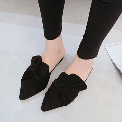Female Slides Pointed Toe Flat Home Slippers Casual Shoes Black