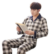 Men Cotton Spring Long Sleeve Plaid Pajama Suit Nightwear