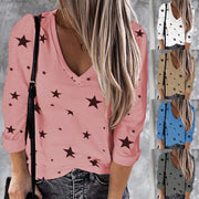 2020 Plus Size Blouse Women Stars Print V-neck Long Sleeve Casual Shirt Blouse Harajuku Pink Blouse Women Женские Блузки hot