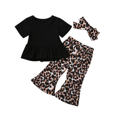 3pcs Fashion Ruched Solid Top T-shirt+leopard Pant