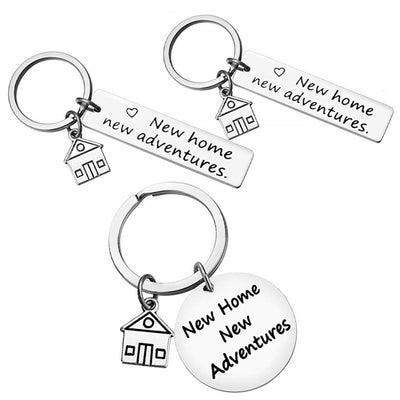 New Home New Adventures Keychain House Keys Keyring Moving Together First Home Funny Key Chains Housewarming Gift For Her Or Him