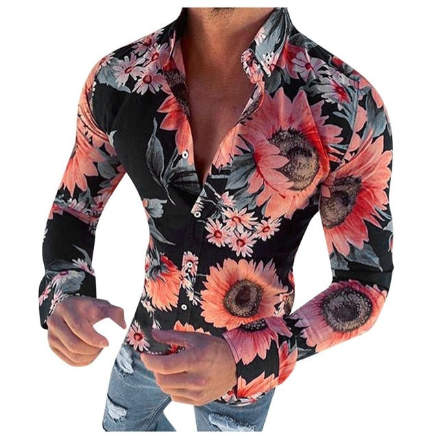 New Men's Floral Shirt Long Sleeve Casual Shirt Fashion Rose Flower 3d Printed Turn-down Collar Slim Fit Shirt Mens Clothing