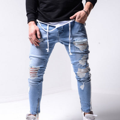 Men Stretchy Ripped Jeans Skinny Biker Zipper Slim Fit Jeans Destroyed Hole Taped Denim Scratched High Quality Jean