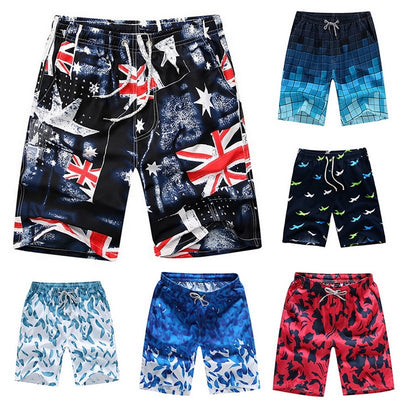 Swiming Shorts Men Summer Casual Sunga Masculina Loose Quick Dry Board Shorts Hawaiian Print Elastic Waist Bathing Beach Shorts