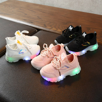 Kids Shoes girls Children Baby Girls Boys Breathable Mesh Led Luminous Sport Run Sneakers Shoes zapatos niña детская обувь