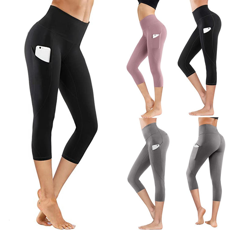 Women's Штаны Tight Elastic Quick Dry Solid Color Pocket Capris Joggers Women Seamless Pants Штаны Женские