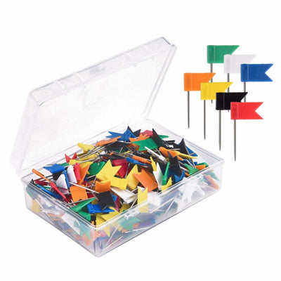 100pcs Colorful Flags Push Pins Metal Bulletin Board Message Paper Fixed Needle Pins Map Drawing Thumb Tack Binding Supplies