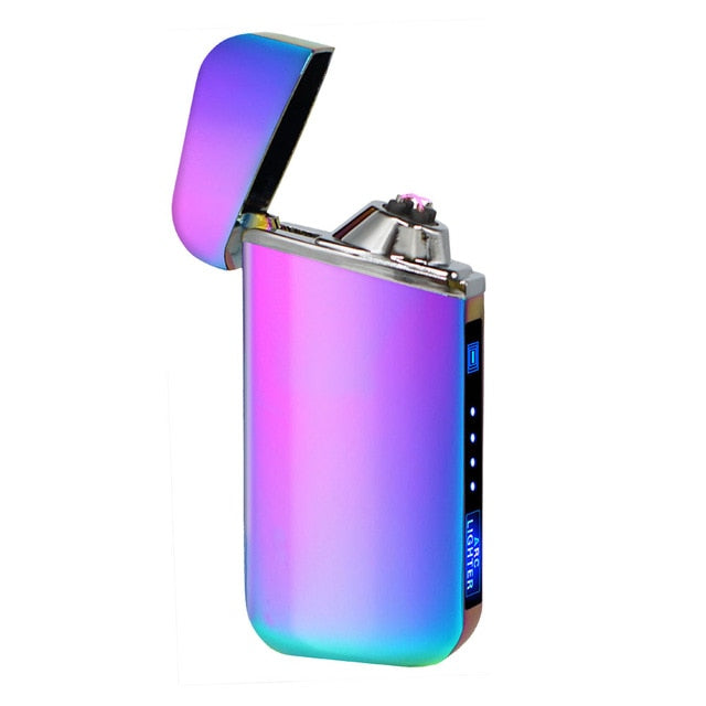 Hot Sell USB Electric Lighter Double Plasma Arc Cigarette Lighter Touch Ignition Rechargeable Windproof Lighter Gadgets for Men