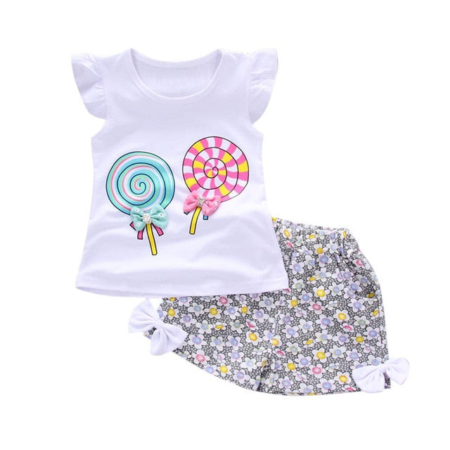 2PCS Girls Lollipop T-shirt Floral Shorts Set Fashionable Comfortable Toddler Kids Baby Girl Clothing Set Lollipop T-shirt  S4