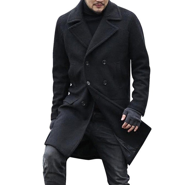 Men Vintage Coat Woolen Overcoat Autumn Winter Clothes Abrigo Hombre Men Loose Windbreaker Jacket Oversized Long Coat Outerwear
