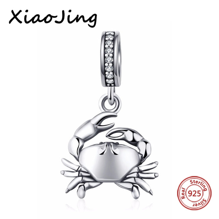 Xiaojing 925 Sterling Silver beads Crab Pendant Charm with Stone Fit original Pandora bracelet DIY jewelry For women Gifts 2020