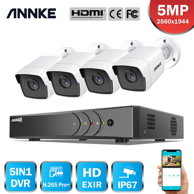 ANNKE H.265+ 5MP Lite Ultra HD 8CH DVR CCTV Security System 4PCS 5MP IP67 Weaterproof Outdoor 5MP Camera  Video Surveillance Kit