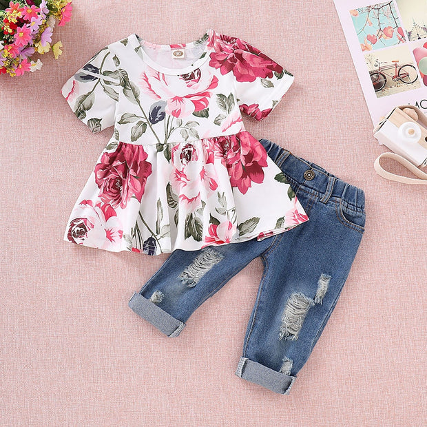 TELOTUNY Children's clothing Baby Girls Fashion Short Sleeve Floral Crop Tops+Hole Denim Pants Toddler Kids Clothes Sets Jun20