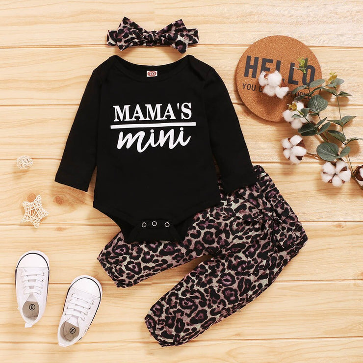 Infant Baby Girls Letter Print Romper Bodysuit+leopard Pants+headband Outfits With Bowknot Toddler Girl Clothes Outfits#55