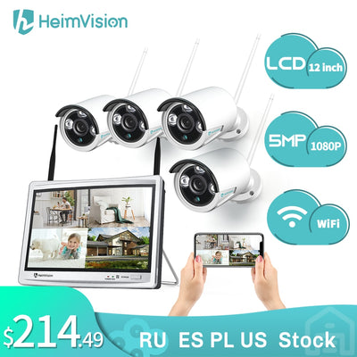 HeimVision HM243 1080P Wireless WiFi Security Camera System 8CH NVR 4Pcs Camera with 12 inch LCD Monitor with Night Vision Motio