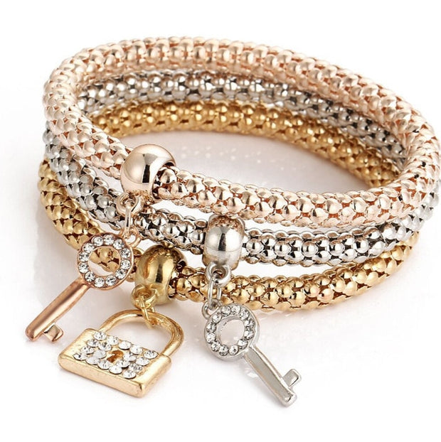 2020 New Key Locket Pendant Charm Bracelets Bangles Women Layers Gold Color Bracelets for Punk Pulseras Jewelry Best Gifts