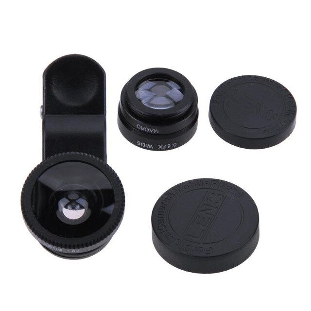 3 in 1 Mini Fisheye Camera Lens with Clip Mobile Phone Wide Angle Macro Camera Lens Kit Portable Dismountable Photo Accessories
