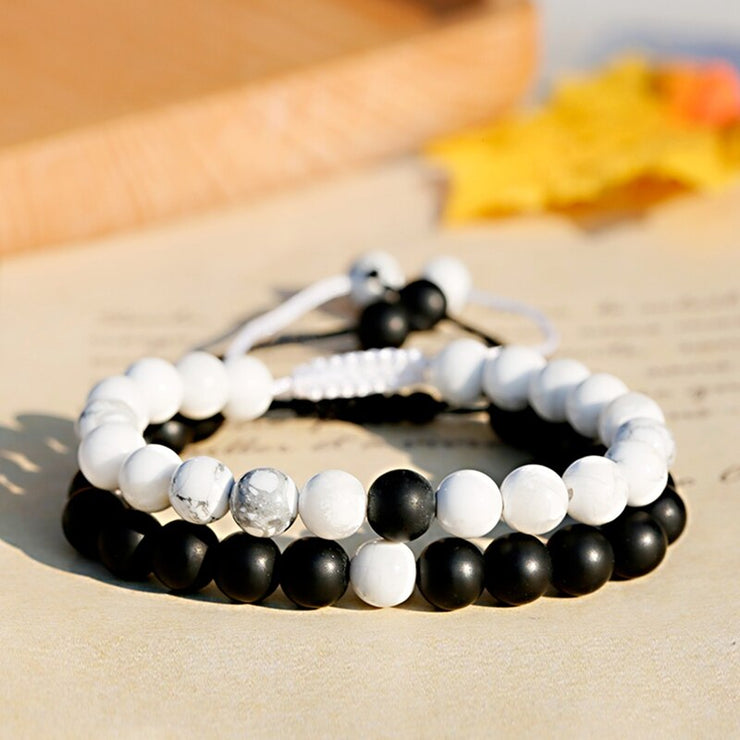 His and Hers Natural Stone Couple Bracelets Black White Matte Onyx Howlite Braiding Macrame Bracelet For Women Men Jewelry