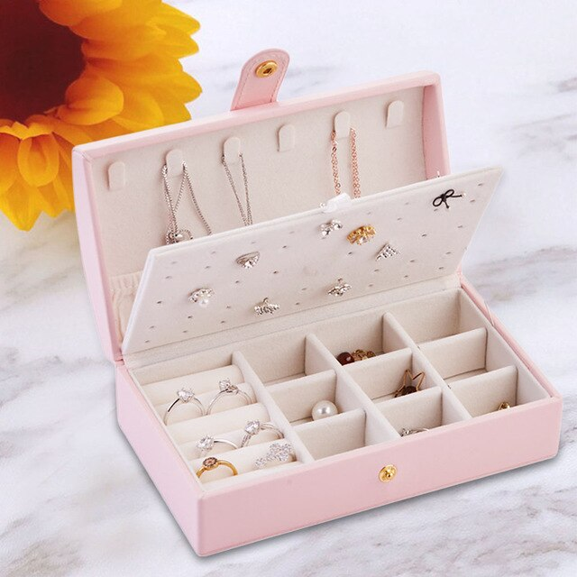 Double Layer Jewelry Box Jewelry Organizer Display Portable Jewelry Case Boxes Travel Jewelry Box Button PU Leather Storage Box