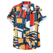 camisas Mens Shirt Contrast Color Vintage Ethnic Geometric Printed Turn Down Collar Short Sleeve Shirt Tops Loose Shirts