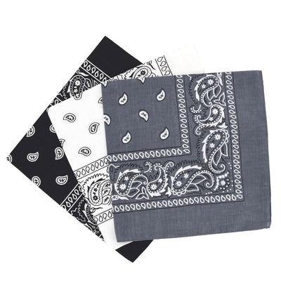 3PCS Handkerchief New Double-Sided Printing Men Women Turban Cotton Square Scarves Bandanas Hip hop Street dance headscarf