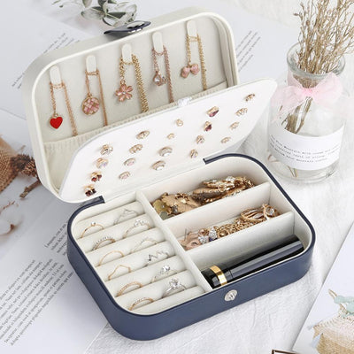 Hot sale Portable Stud Earrings Rings Storage Boxes PU Leather Jewelry Display Cases jewelry organizer шкатулка для украшений