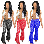 Sexy Women Summer Chain Lace Up Crop Tank Top and Wide Leg Flare Pants Streetwear Sexy Party Club High Waist Sweatpants Trousers