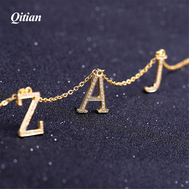 Qitian Single Zircon Letters Necklaces & Pendant Charm For Men/Women Gold Color Hip Hop Custom Necklace Jewelry Gifts