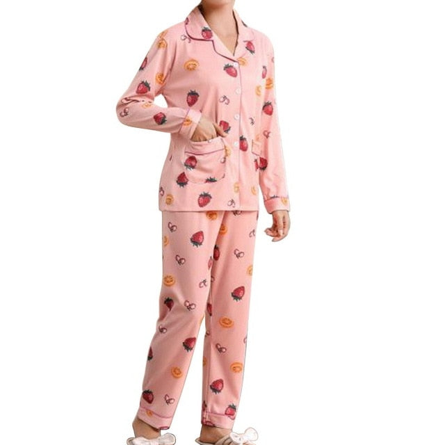 Women Clothes New Pajamas Female Suits Leisure Comfortable Strawberry  Night Suit Sleepwear