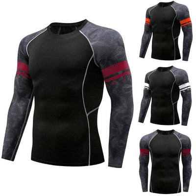 Men's T Shirts Long Sleeve Round Collar T Shirts Men Casual Tops Tees Male Breathable Fitness Quick-Drying T-Shirts New#45