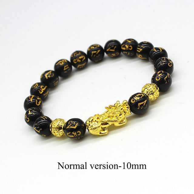 2PCS Obsidian Stone Beads Women man Bracelet Wristband Pi Xiu Gold plated Black Wealth bracelet and Good Luck God Jewelry