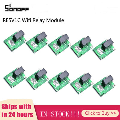 10Pcs SONOFF RE5V1C Wifi DIY Switch 5V DC Relay Module Smart Home Wireless Switches Inching Self-locking Modes APP/Voice Remote