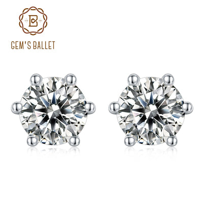 GEM'S BALLET 6 Prong Round Stud Earrings Fashion 925 Sterling Silver Jewelry 5mm D Color Moissanite Earrings For Women Wedding
