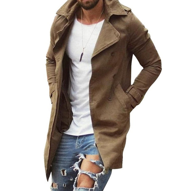 New Spring Autumn Mens Trench Coat Jacket Plus Size 4XL Outwear Casual Long Overcoat Jackets for Men Clothes