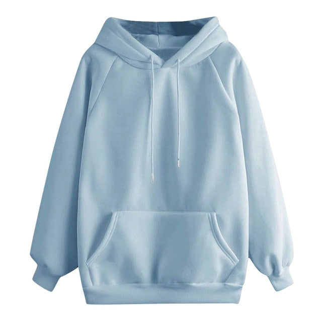40# Oversized Hoodie Women Casual Solid Color Hooded Pocket Long Sleeve Pullover Sweatshirt Korean Style Women Hoodies Moletom