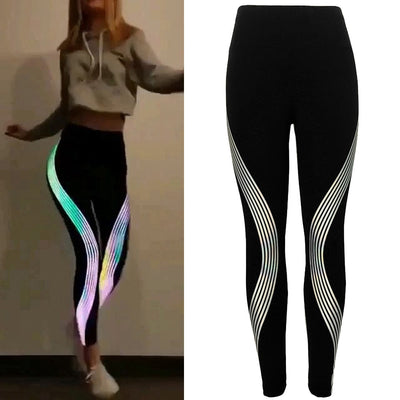Women Rainbow Reflective Leggings Workout Fitness Leggings Ladies Neon Pants Activewear High Wais Glow In The Dark Trousers
