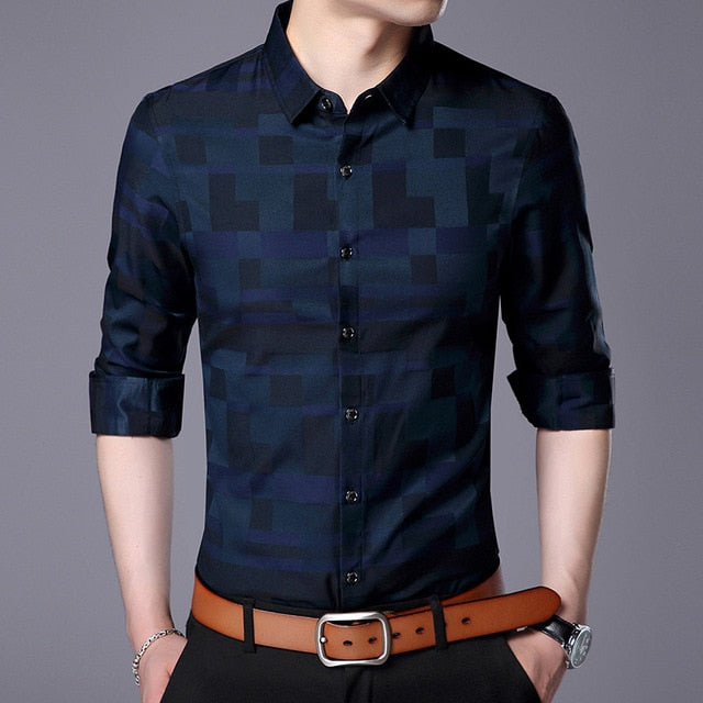 Men Plaid Shirt Business Casual Long Sleeve Shirts New Arrival Men Famous Brand Clothing