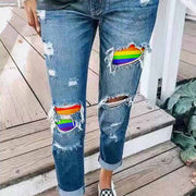 Hole Distressed Patchwork Print Hip Hop Woman Jeans Straight Ripped Jeans Trouser Vintage Clothes Slim Denim Pants Washed Jeans